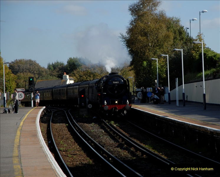 2011-10-15. 70013 @ Branksome on the down Swanage Belle.  (2)115