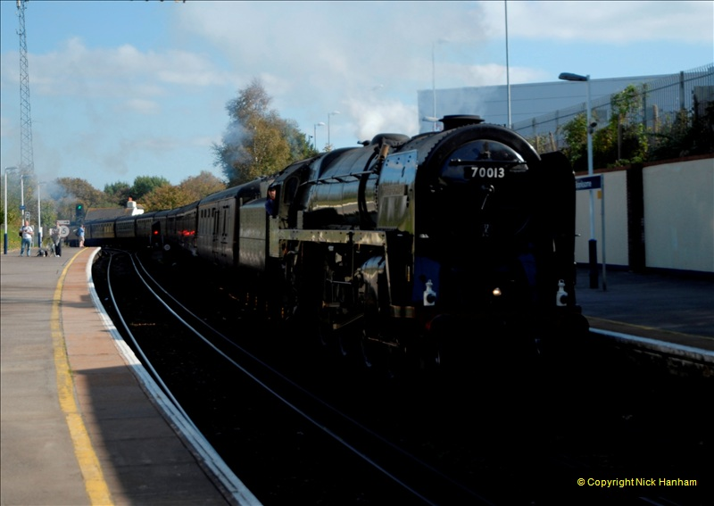 2011-10-15. 70013 @ Branksome on the down Swanage Belle.  (9)122