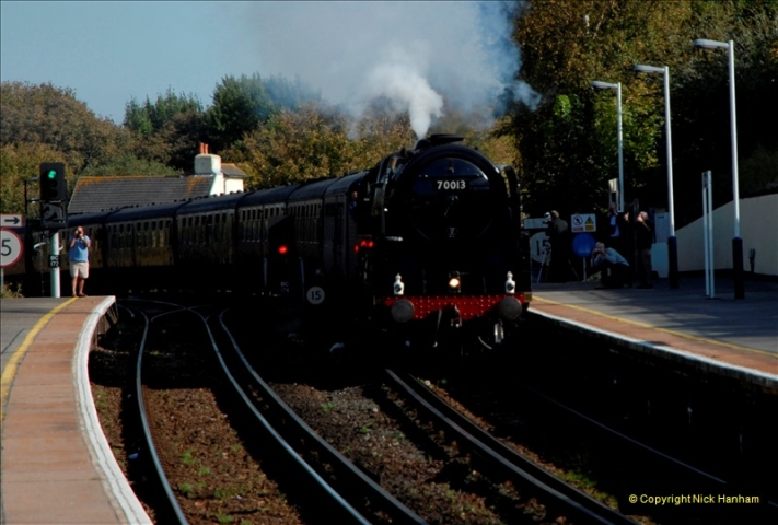 2011-10-15. 70013 @ Branksome on the down Swanage Belle.  (3)116