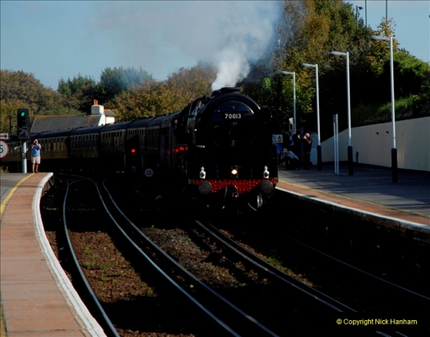 2011-10-15. 70013 @ Branksome on the down Swanage Belle.  (5)118