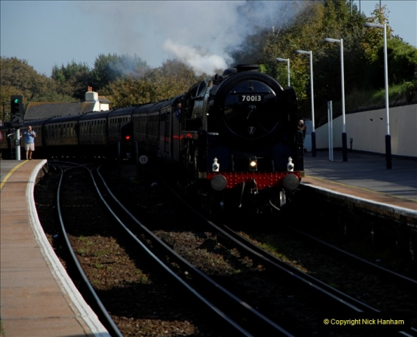 2011-10-15. 70013 @ Branksome on the down Swanage Belle.  (7)120