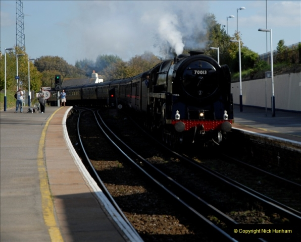 2011-10-15. 70013 @ Branksome on the down Swanage Belle.  (8)121