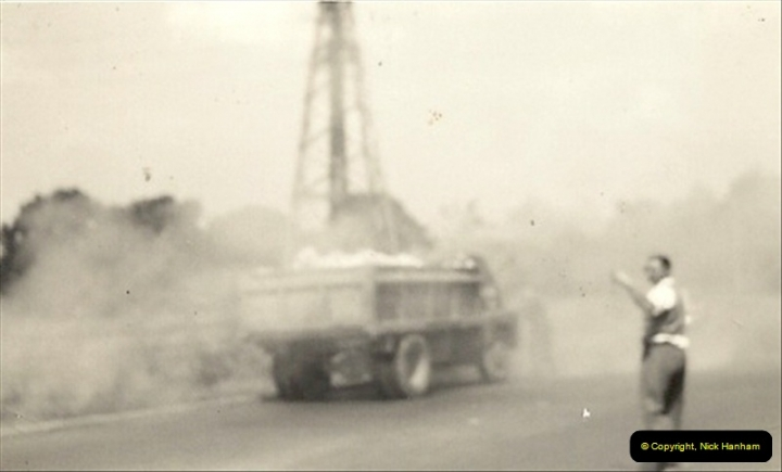 1959 (6) Bedford 'S' Type on fire near Bedford, Bedfordshire. 021