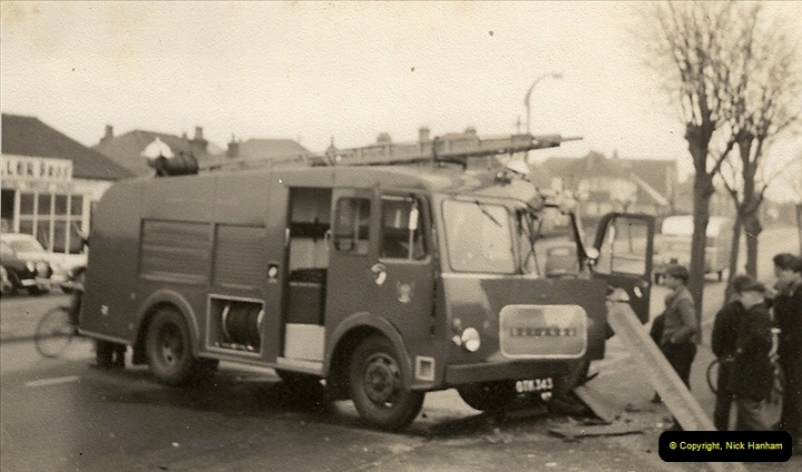 1960 (3) Bedford Fire Engine in trouble Ringwood Road, Parkstone, Dorset. 025
