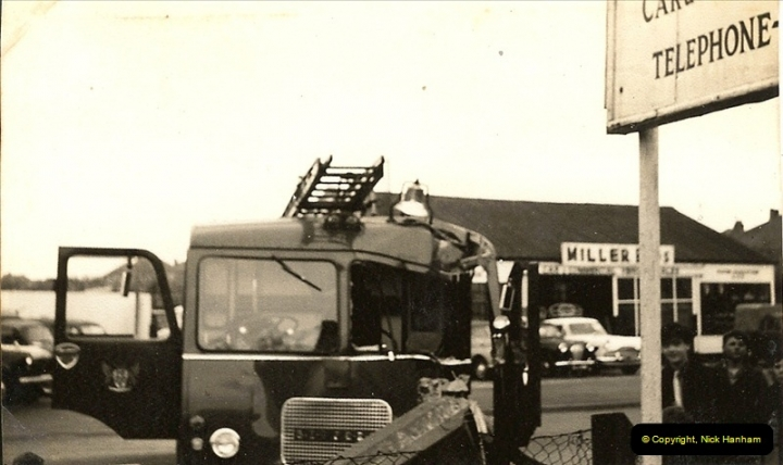 1960 (4) Bedford Fire Engine in trouble Ringwood Road, Parkstone, Dorset. 026