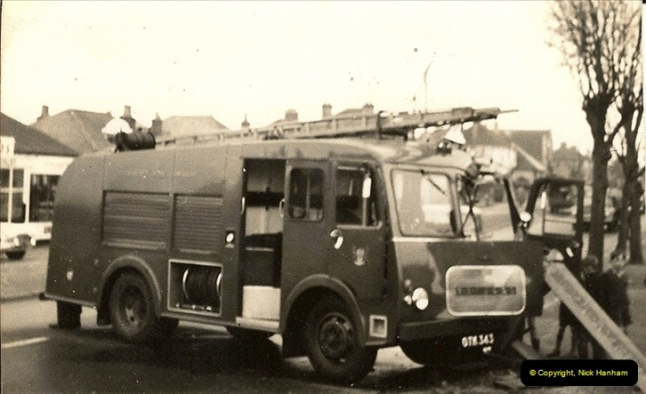 1960 (6) Bedford Fire Engine in trouble Ringwood Road, Parkstone, Dorset. 028