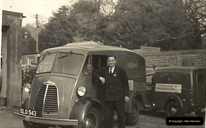 1962 (1) Morris van @ Parkstone Royal Mail Sorting Office, Poole, Dorset. Ray Hunt posing. Your Host did his first night driving duty in this van.040