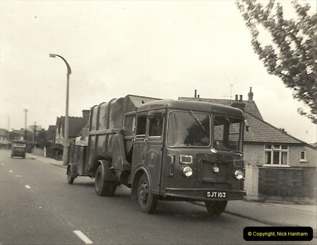 1963 (65) Ringwood Road, Parkstone, Poole, Dorset. SD refuse collector with trailer. Note the milk float at centre left.114