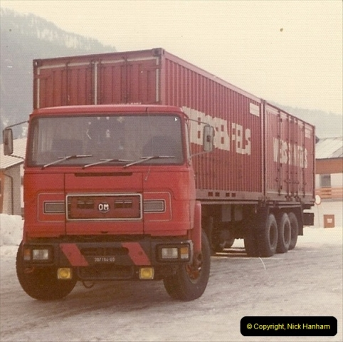 1978 (4) Near Tarvisio, Northern Italy. Note the vehicles are mostly right hand drive for mountain roads251