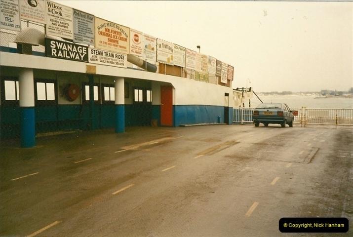 1991-02-10. Only car on the ferry. Sandbanks, Poole, Dorset.494