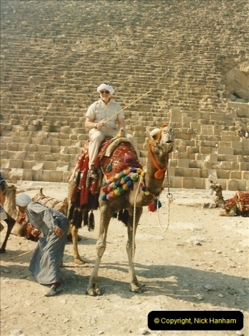 1994-08-04. Pyramids, Cairo, Egypt. Your Host trying out the local transport.603