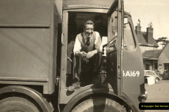 1959 (2) My late Stepfather at Gillingham Railway Station, Dorset. BRS Maudslay Meritor 8 wheel box van P33A169. A REAL LORRY.019