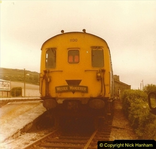 1976 June 01. Maiden Newton, Dorset. The Wessex Wonderes was an SR fund raising train. Your Host ran a saleas stand in the guards compartment. 003
