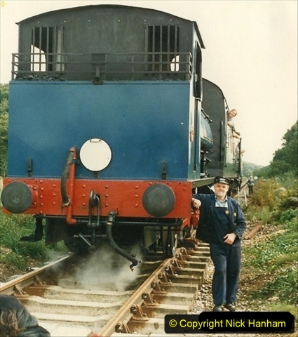 1987-09-30 Your Host driving a special film unit train. This was the first passenger train to Quarr Farm Crossing.   (3) 066