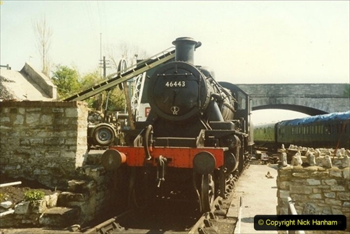 1989-04-28 Ivatt 46443 arrive at Swanage for the Summer Season. Our first tender engine.  (1) 084