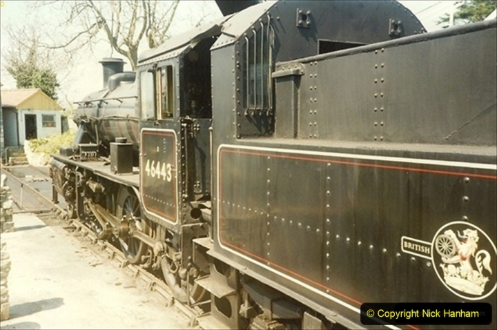 1989-04-28 Ivatt 46443 arrive at Swanage for the Summer Season. Our first tender engine.  (2) 085
