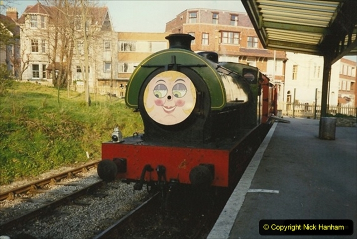1990-04-01 Your Host driving Whiston on a Santa and Thomas the Tank engine Special. Well it was April the first! (3) 109