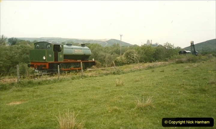 1990-05-19 Making progress to Corfe Castle driving NCB Whiston on a works train. (1) 112