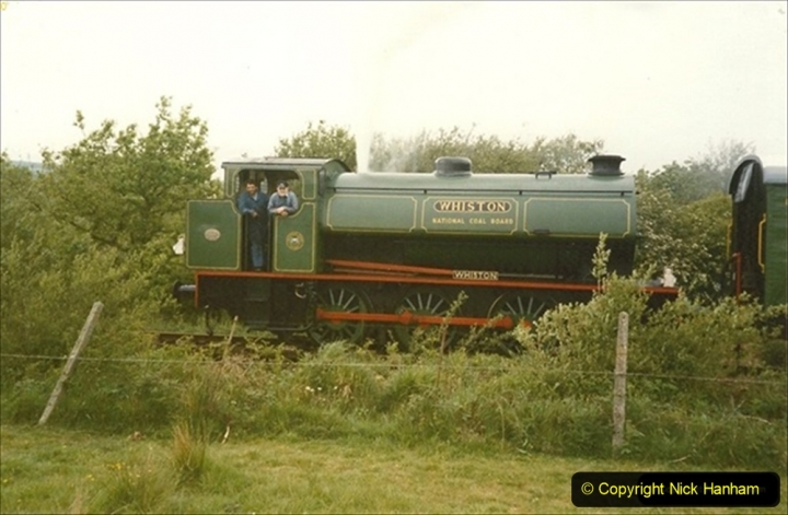 1990-05-19 Making progress to Corfe Castle driving NCB Whiston on a works train. (2) 113