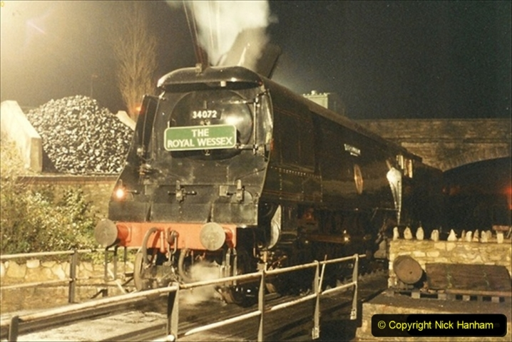 1990-11-17 Your Host's first driving turn on 34072 at Swanage. (3) 136