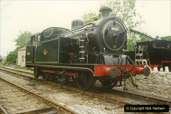 1990-6-25 Progress to Corfe Castle driving 69621 on a works train. (1) 122