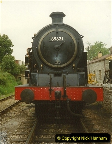 1990-6-25 Progress to Corfe Castle driving 69621 on a works train. (2) 123
