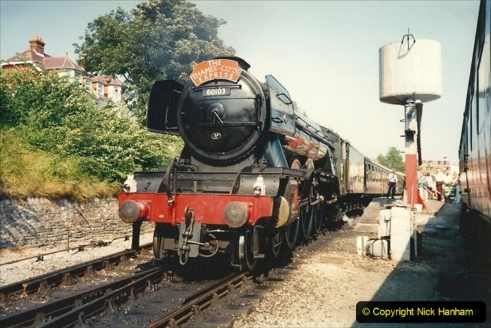 1994-07-18 to 22 Your Host spends a week driving Flying Scotsman. (1) Loco sporting your Host's Thames Clyde Express head board. 212