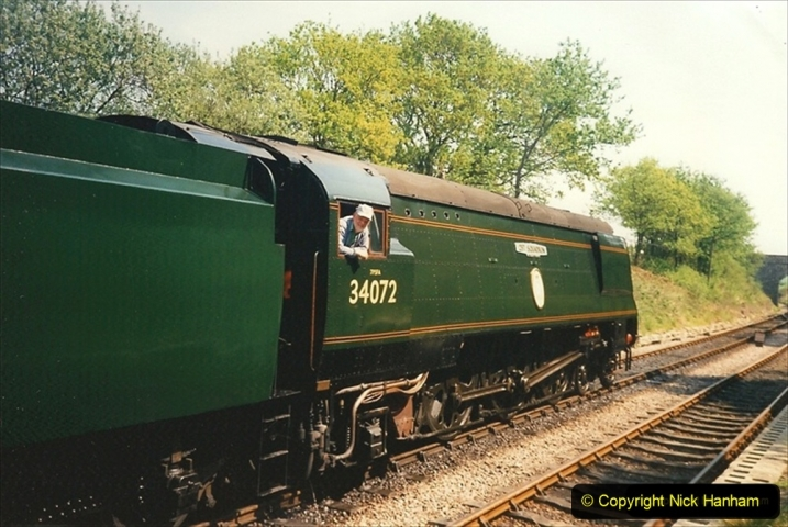 1995-05-06 Driving 34072 at Harmans Cross. 223