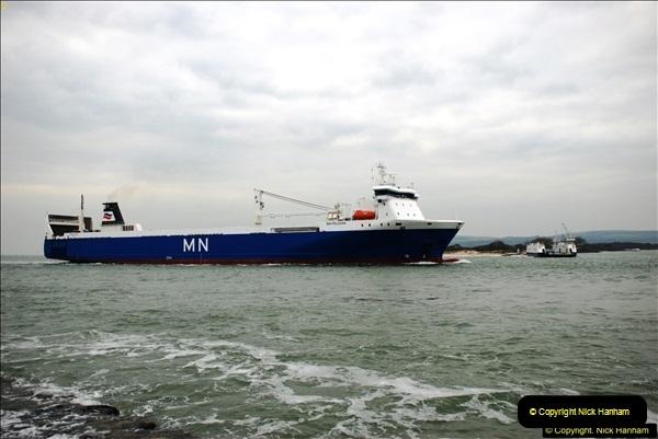 2016-02-27 MV Pelican entering Poole Harbour followed by bunkering vessel.  (13)070
