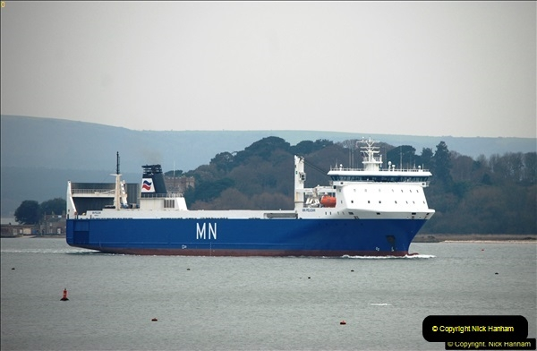 2016-02-27 MV Pelican entering Poole Harbour followed by bunkering vessel.  (18)075
