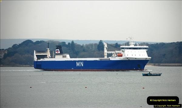 2016-02-27 MV Pelican entering Poole Harbour followed by bunkering vessel.  (19)076