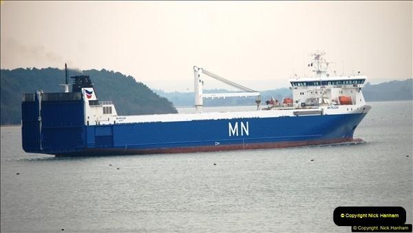 2016-02-27 MV Pelican entering Poole Harbour followed by bunkering vessel.  (21)078