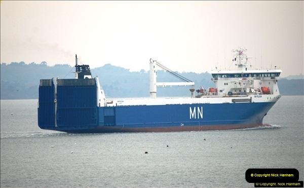 2016-02-27 MV Pelican entering Poole Harbour followed by bunkering vessel.  (22)079