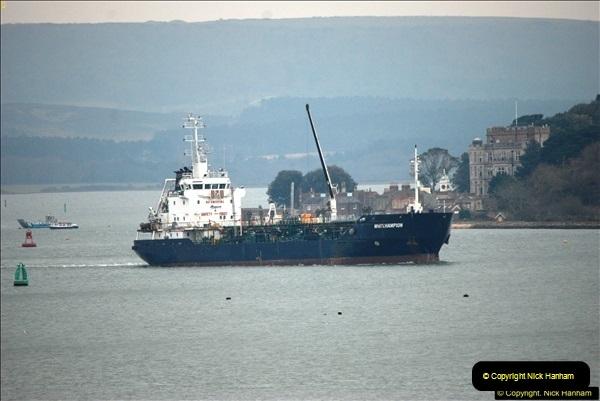 2016-02-27 MV Pelican entering Poole Harbour followed by bunkering vessel.  (25)082