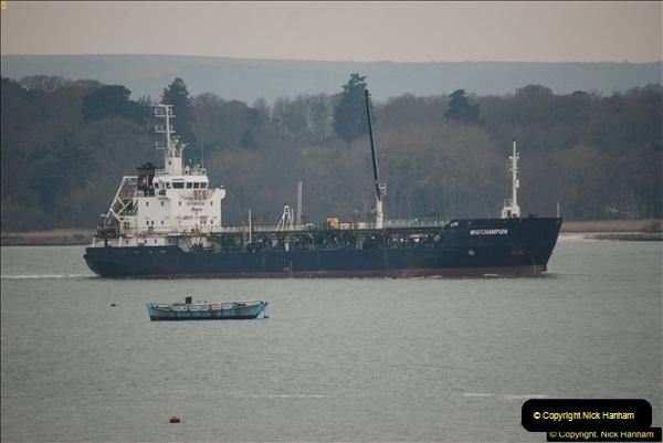 2016-02-27 MV Pelican entering Poole Harbour followed by bunkering vessel.  (26)083