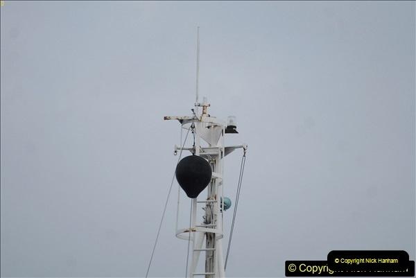 2018-03-26 Sandbanks Ferry ball warning to shipping that it is crossing plus flashing white lights.256