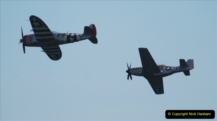 2019-08-30 Bournemouth Air Festival 2019. (176) Warbird Fighters. Spitfire - Mustang - Republic P-47D Thunderbolt - Hispano Buchon. 176