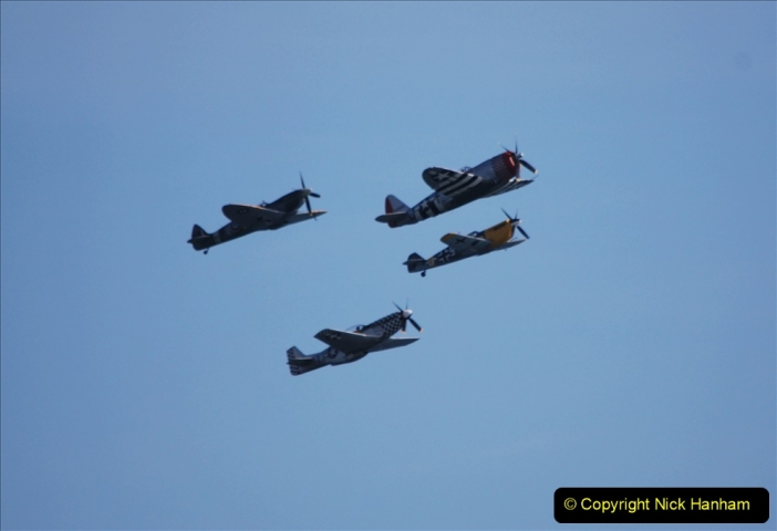 2019-08-30 Bournemouth Air Festival 2019. (181) Warbird Fighters. Spitfire - Mustang - Republic P-47D Thunderbolt - Hispano Buchon. 181