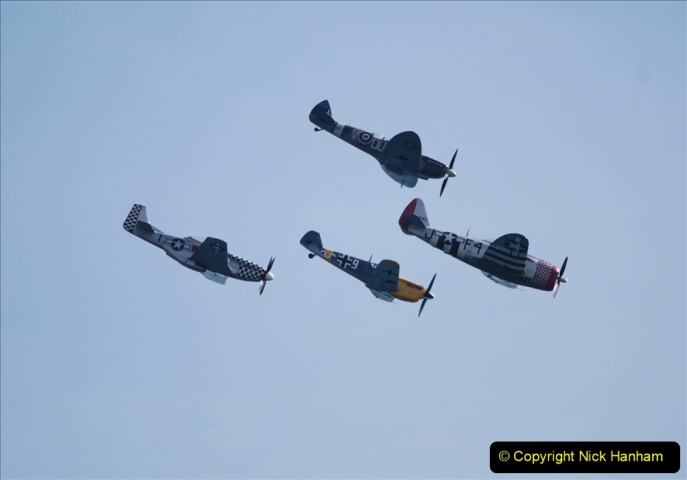 2019-08-30 Bournemouth Air Festival 2019. (186) Warbird Fighters. Spitfire - Mustang - Republic P-47D Thunderbolt - Hispano Buchon. 186