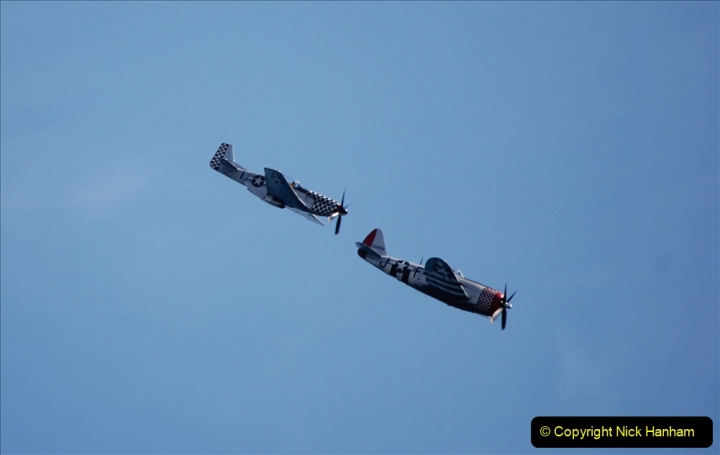 2019-08-30 Bournemouth Air Festival 2019. (202) Warbird Fighters. Spitfire - Mustang - Republic P-47D Thunderbolt - Hispano Buchon. 202