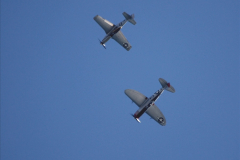2019-08-30 Bournemouth Air Festival 2019. (201) Warbird Fighters. Spitfire - Mustang - Republic P-47D Thunderbolt - Hispano Buchon. 201