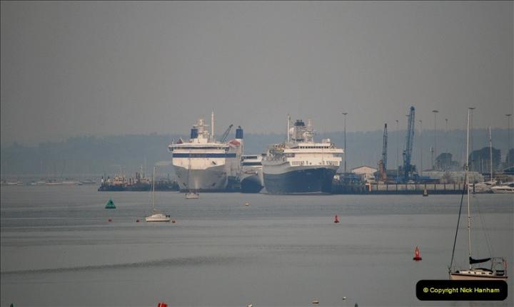 2019-04-22 Poole Harbour - MV Astoria, Brittany Ferries Barfleur & Condor Ferries Liberation. (2) 032