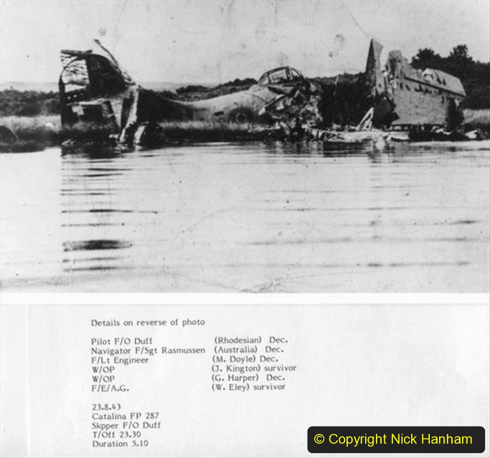 BEAMISH COLLECTIONWreckage of crashed Catalina FP287.Details of crew.23/8/43