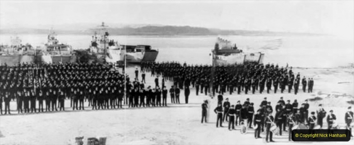 BEAMISH COLLECTIONCrews of the S.S.E.F. and representative craft, parading at RM Poole some time after Walcheren (November 1944).Undated.File M10.