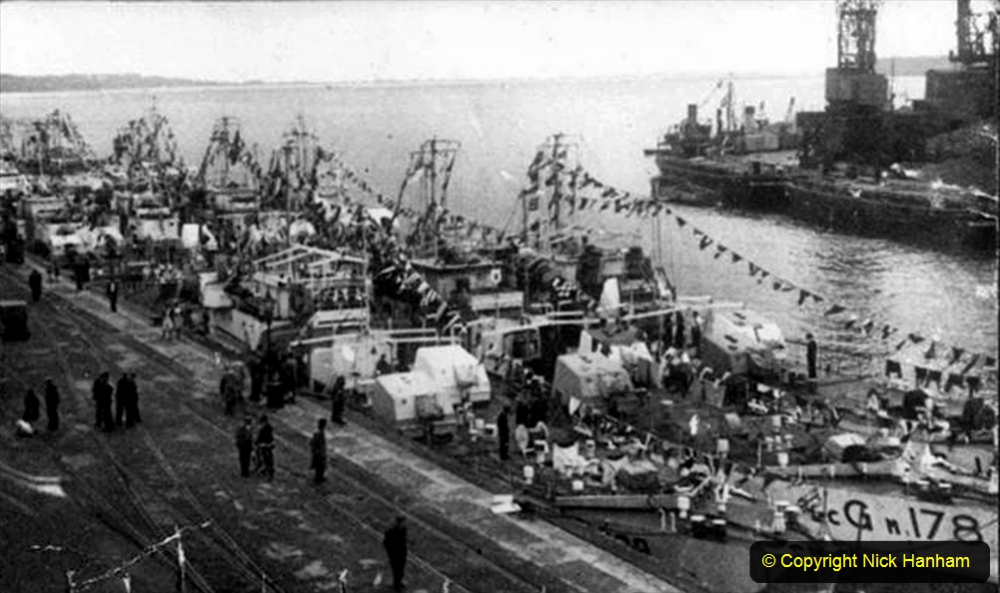 Ships gunfire support craft (Support squadron HMS 'Turtle'). VE day celebrations, Poole quay 08/05/1945. Guncraft of Support Sqdn, HMS Turtle dressed overall.