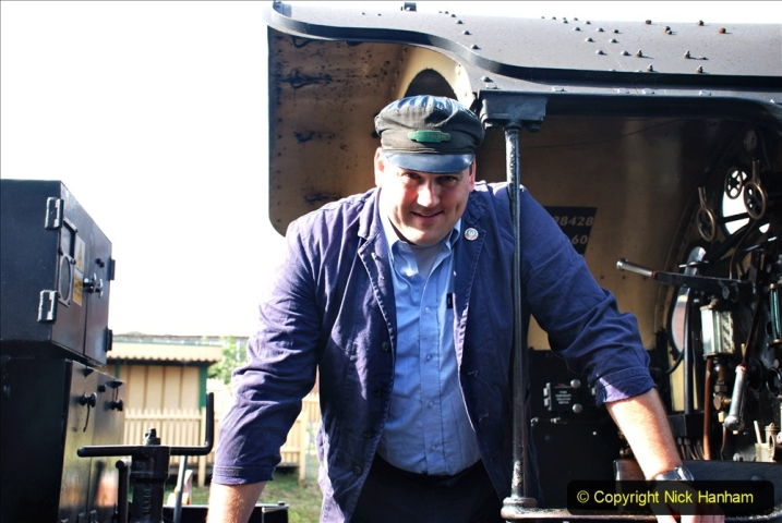 2020-07-18 First Steam Trains in Purbeck since Lockdown with U 31806. (18) The loco crew. 018