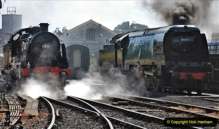 2020-07-18 First Steam Trains in Purbeck since Lockdown with U 31806. (75) 075