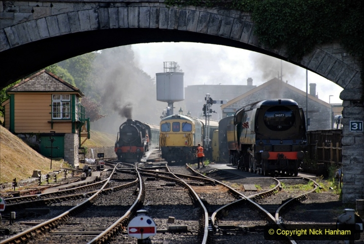 2020-07-18 First Steam Trains in Purbeck since Lockdown with U 31806. (86) 086