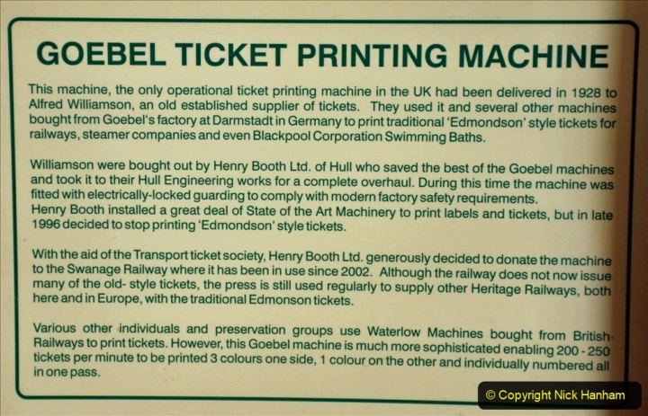 2020-09-10 Swanage & Corfe Castle plus ticket printing machine maintenance. at CC. (45) 045