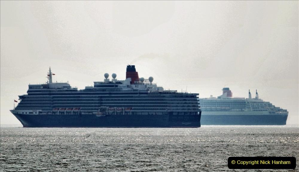2020-08-10 Cruise ships in Weymouth Bay. (29)  Queen Elizabeth 3 & Queen Mary 2. 161